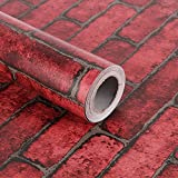 Yifely Red Brick Self Adhesive Shelf Drawer Liner Door Sticker Rural Wall Covering Paper Easy to Install 17.7inch by 9.8 Feet