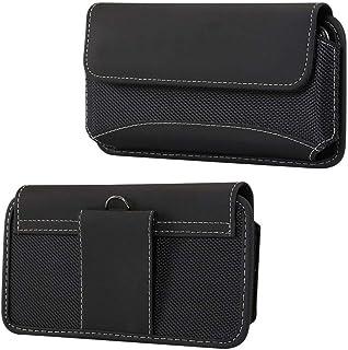 DFV mobile - Belt Case Cover Horizontal New Design Leather & Nylon for HTC Desire 19s (2019) - Black