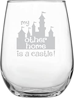 Funny Disney-Inspired Stemless Wine Glass | Mickey Mouse Fan | Princess | Birthday | Housewarming | Wedding | Anniversary Present | by Laser Etchpressions | My Other Home is a Castle