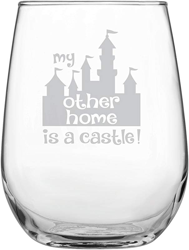 Funny Disney Inspired Stemless Wine Glass Mickey Mouse Fan Princess Birthday Housewarming Wedding Anniversary Present By Laser Etchpressions My Other Home Is A Castle