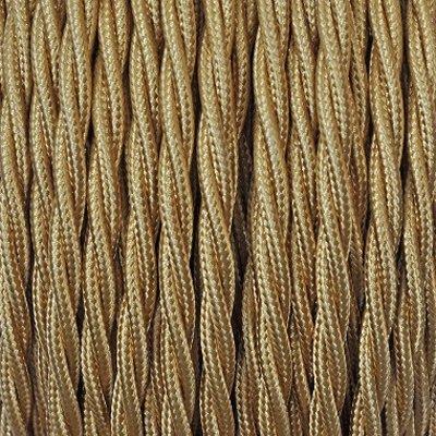 Fil électrique tissu Or - câble textile torsadé 2 fils 2x0.75mm2
