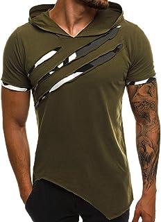 Bigine Men's Summer Short Sleeve Sports Gym T Shirt - Casual Patchwork Slim Hooded Top Blouse