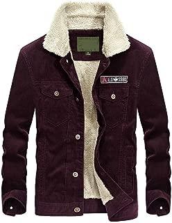 Men's Corduroy Trucker Jacket Casual Stand Collar Button Down Fleece Denim Jacket