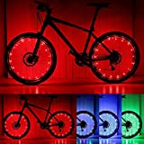 PAMASE 2 Packs Waterproof LED Bike Wheel Light, 20 LED Lamp Bead Strip for Bicycle Spokes and Rims - Red