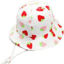 SYROSA Baby Girls Sun Bucket Hat Summer Cotton UV Protection for Kids Flamingo Blue 1-8 Years