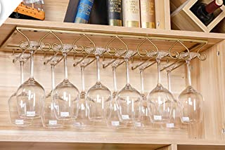 Tosbess Soporte para Copas de Vino - Soporte de Acero para Colgar Copas en la Cocina, Bar o Restaurante - con 6 rieles