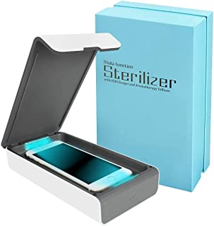 Smart Phone UV Sanitizer Portable UV Light Cell Phone Sterilizer Cleaner Aromatherapy Function Disinfector with USB Charging for iPhone Android Smart Phone Toothbrush Jewelry Watches