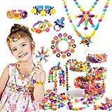 Joyjoz Bricolage Perles Set, Kits de Bijoux et Perles pour Enfants, 550pcs Perles Emboîtables pour Fillette Âgée de 3 ,4, 5, 6, 7 et 8 Ans