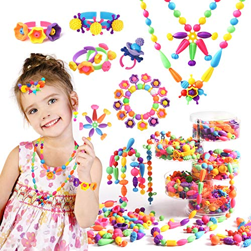 Joyjoz Snap Pop Beads for Girls, Jewelry Making Kit for Kids Art and Craft Kit, Kids Crafts DIY Necklace Bracelet Ring Earring, Party Favor Creativity Toys for 3 4 5 6 7 8 Year Old Girls Gifts