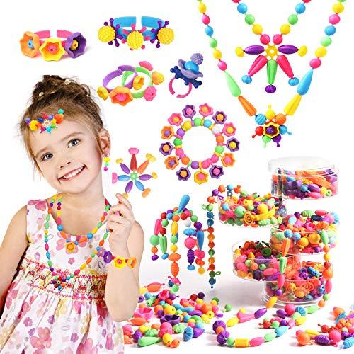 Joyjoz Pop Beads, 550pcs Niños Bricolaje Conjunto de Cuentas, Kit de Fabricación de Joyería DIY Bricolaje para Niños de 3, 4, 5, 6, 7, 8 años