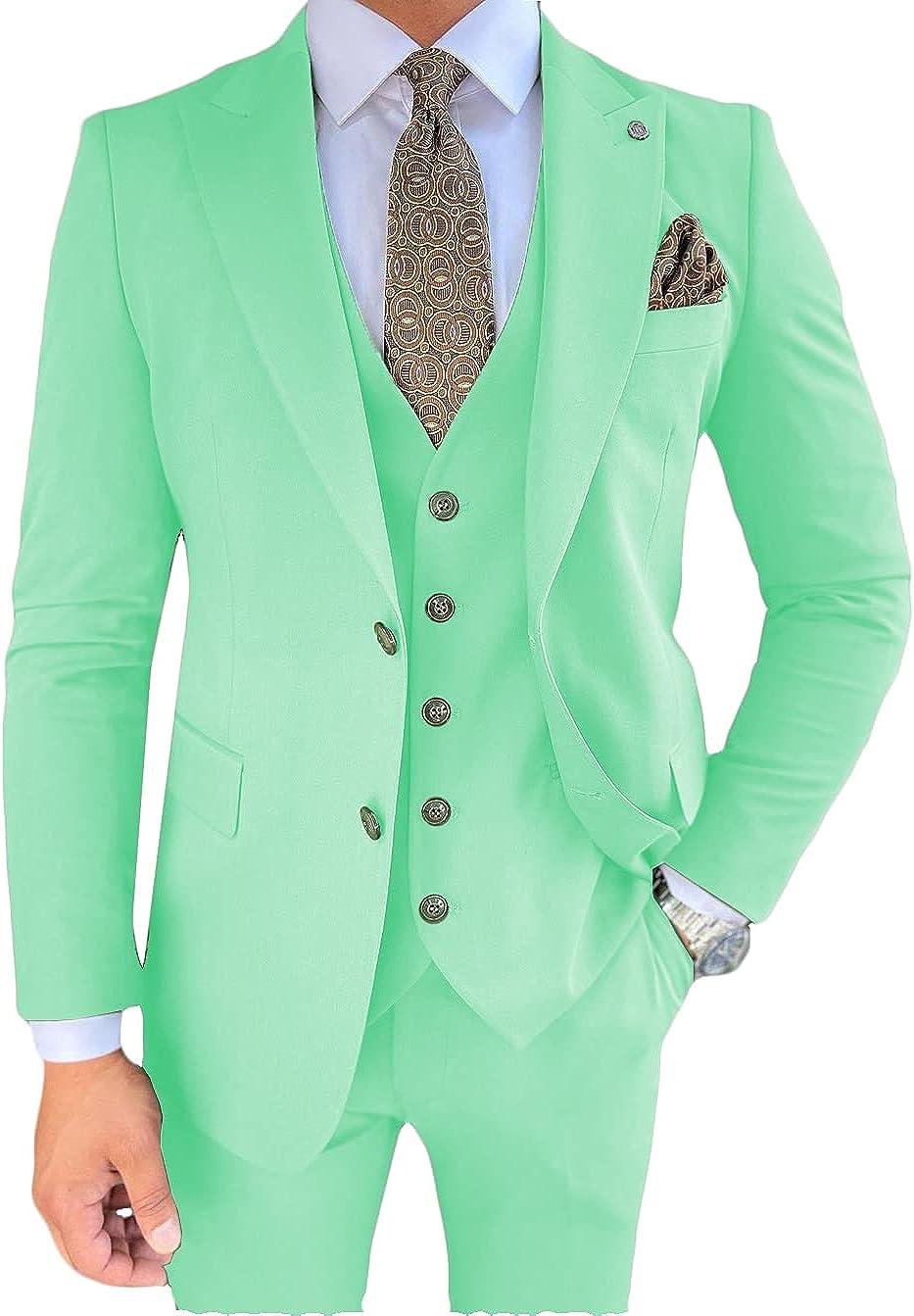 Surprise price Aesido Men's Suits Regular Fit 3 Tuxedos Pieces J Business Rare Solid
