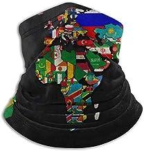 Giles John Mapa del Mundo Banderas De País Sombreros Calentador De Cuello Cómodo Cuello Polaina Calentador Mascarilla Bufanda De Invierno para Clima Frío Deportes De Invierno