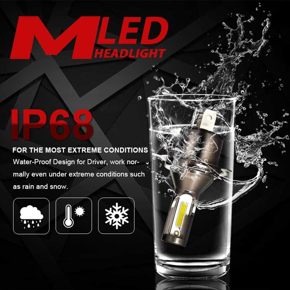 leegoal 2pcs H4 LED Faro Bombillas, Impermeable 26000LM 6000K Super Brillante reemplazo de la lámpara del automóvil con Chips COB Avanzada para Coche: Amazon.es: Coche y moto