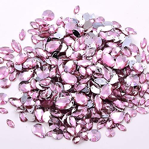 Blinginbox, set da 300 pezzi, forme miste di cristallo acrilico da cucire su strass multicolori, misure miste per cucire strass (It.Pink)