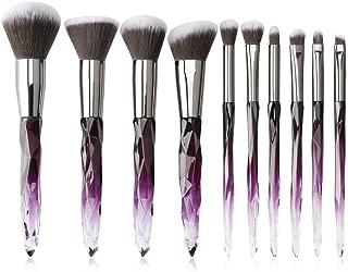 Kingtree Crystal Makeup Brushes Set 10 PCS Transparent Handle Kabuki Powder Foundation Brush Concealer Eye Shadow Eyeliner Eyebrow Brush for Girls Ideal Beauty Tool for Women - C