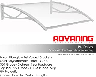 "ADVANING DA4731-PWS1N PN Series, Top Quality Crystal Polycarbonate Door/Window Awning Ideal for Rain, Snow and UV Protection, 47""W x 31""D, Clear/White Brackets"