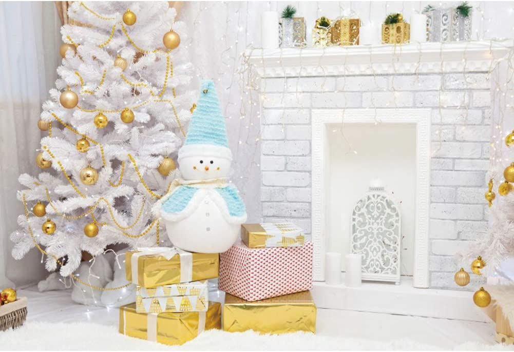 OERJU 12x10ft Interior Christmas Backdrop for New Year Merry Xmas Eve Photography White Fireplace Snowman Doll Background Kids Birthday Party Supplies Newborn Baby Shower Banner People Portrait Props