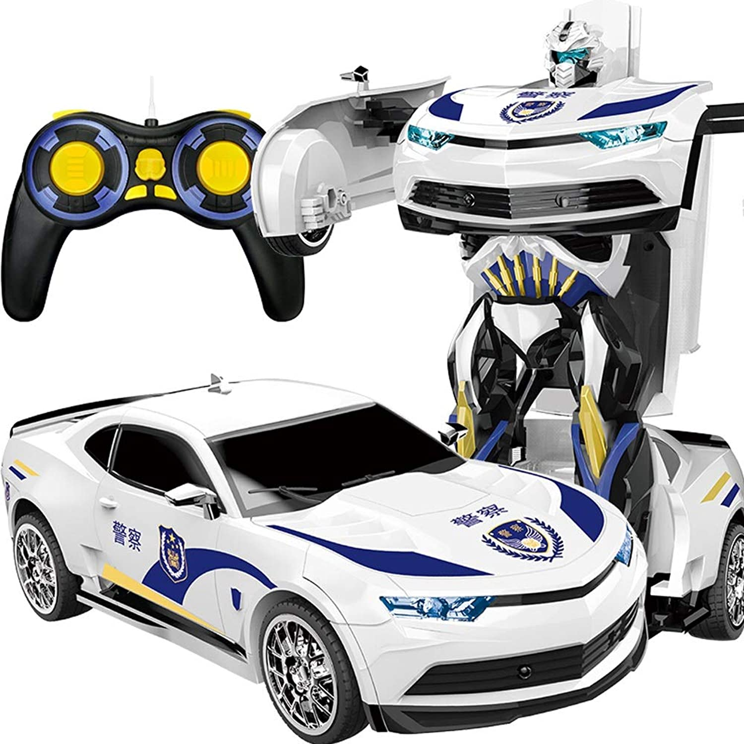 Kikioo Huge 1 12 Rechargeable Dual Mode One Touch Transform Remote Control Police Car Transformer Robot Sound and Light RC 360° redation Stunt Cars Electronic Kids Toys Tools for Boys Girls White