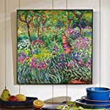 Nordic Claude Monet Giardino di fiori Pittura a olio su tela Poster e stampe Cuadros Immagini da parete per soggiorno 60x60 CM (sans cadre)