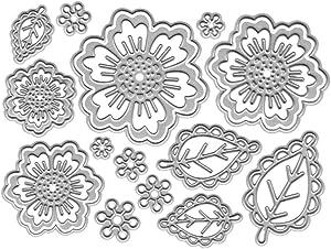 Metal 4 Spring Summer Flower Cutting Dies, Symmetry Pattern Floral 4 Leaf Die Cuts for Card Making Embossing Tool Scrapbooking DIY Etched Stencil Craft Dies