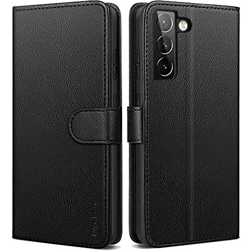 Vakoo Handyhülle für Samsung Galaxy S21 Plus Hülle, Premium Leder Tasche Flip Hülle für Samsung S21 Plus 5G Schutzhülle, mit RFID Schutz, Schwarz - 6.7 Zoll