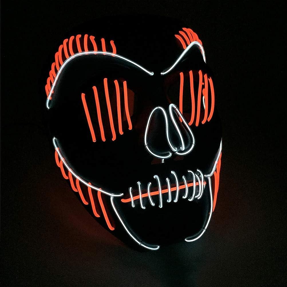 興味してはいけませんプレビュー小さなスリット口 かすかな イルミネーション LED マスク ハロウィン マスク ダンサー プロム パーティー ELワイヤー プロップ (18×18Cm) MAG.AL