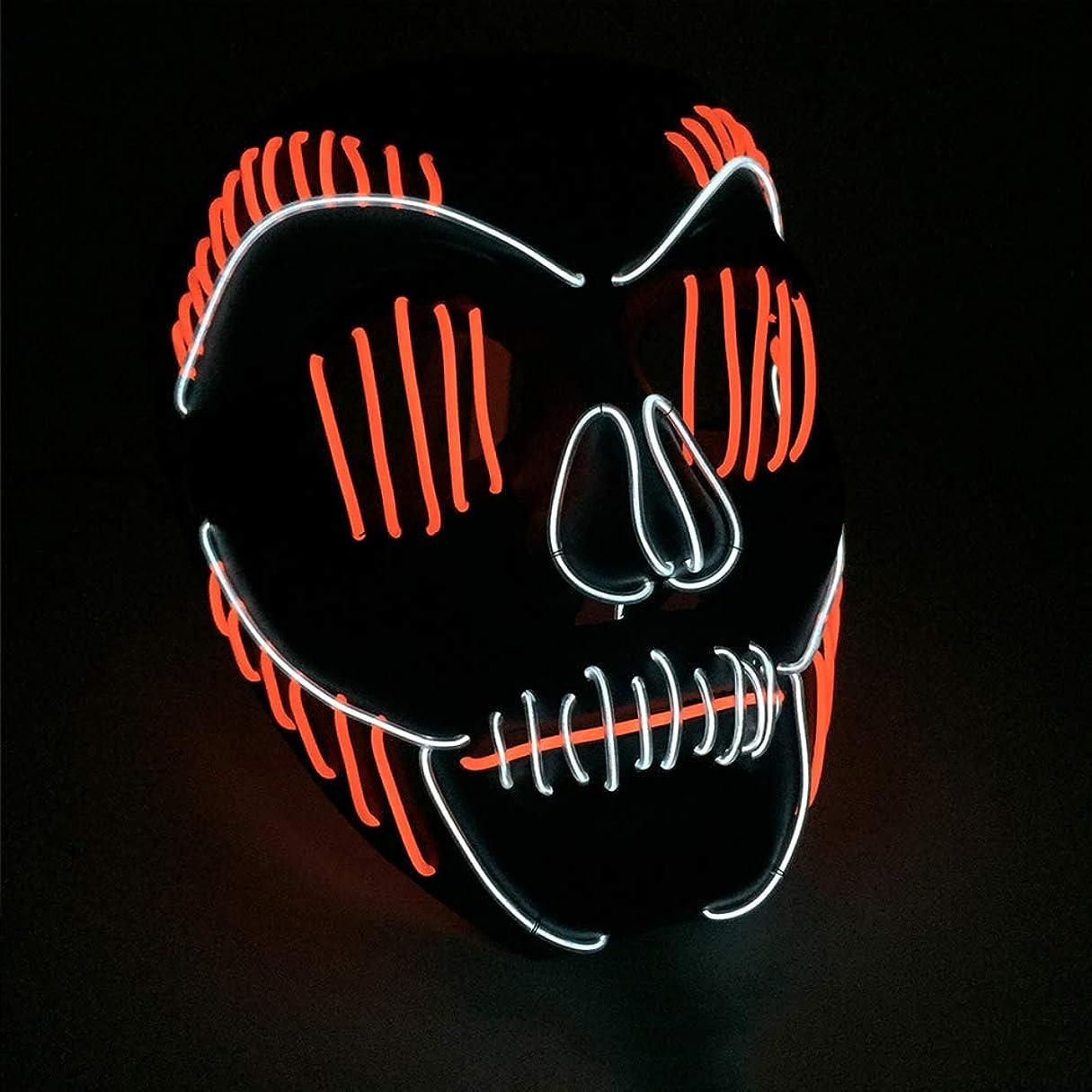 故障カーフシーケンス小さなスリット口 かすかな イルミネーション LED マスク ハロウィン マスク ダンサー プロム パーティー ELワイヤー プロップ (18×18Cm) MAG.AL