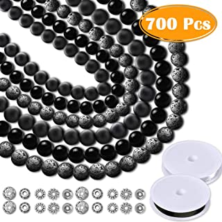 Paxcoo 700pcs Lava Beads Glass Beads Black Lava Stone Rock Beads Kit with Elastic Bracelet String for Diffuser Essential Oils Adult Jewelry Making Supplies
