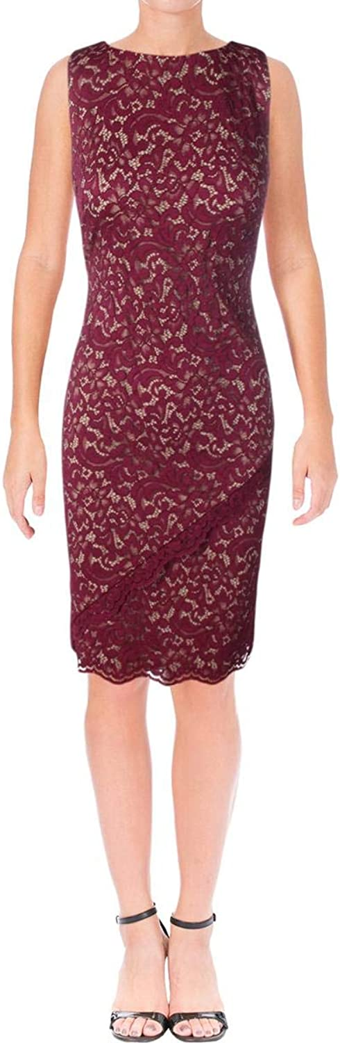 Lauren Ralph Lauren Womens Lace Overlay Sleeveless Party Dress