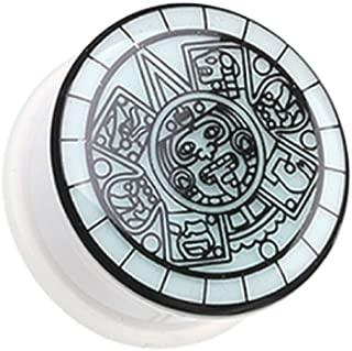 Freedom Fashion Glow in The Dark Mayan Calendar Single Flared Ear Gauge Plug (Sold by Pair)