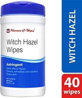 100% Witch Hazel Wipes (1 canister, 40 wipes) Toner & Astringent Cleansing Cloths