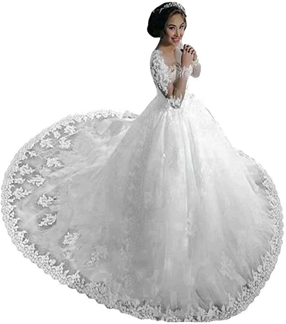 Chady Lace Princess Wedding Dress Ball Gowns 2021 Sexy Sheer Long Sleeves Boat Neck Sequins Beaded Wedding Bridal Gowns