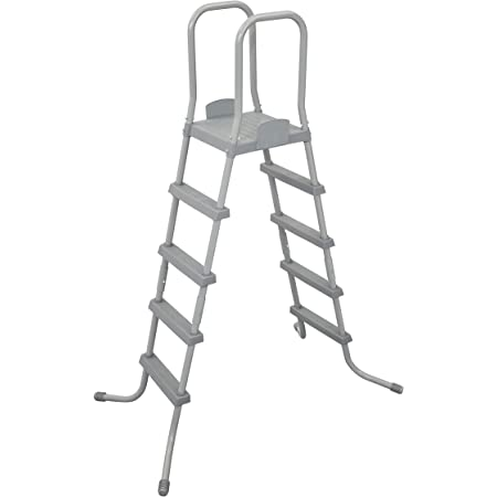 Bestway 58337E 52-Inch Durable Steel Above Ground Swimming Pool Ladder with No-Slip Steps in Gray with Arm Rails and Barrier