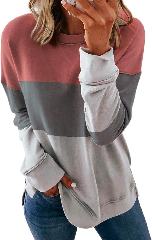 Women Long Sleeve Shirts,Women's Fashion Casual Crewneck Long Sleeve Print Color Matching T Shirt Slim Pullover Tops