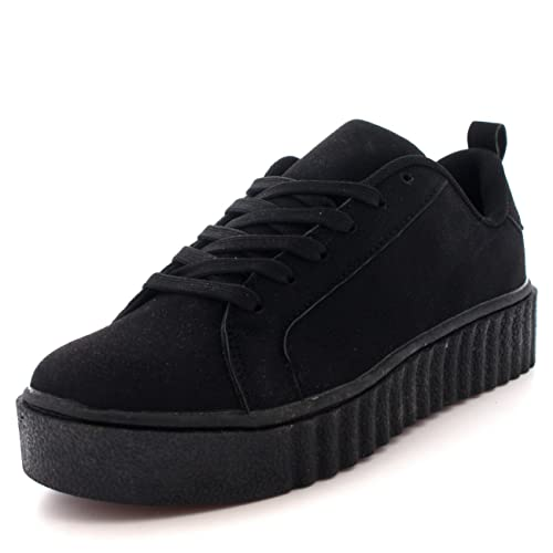 2ea325ceb6a682 Womens Chunky Creepers Platform Lace Up Pumps Shoes Plimsolls Trainers