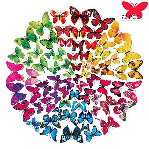 72 pezzi Farfalle Decorative Adesivi Murali 3dFarfalle da Parete,Adesivi Murali Farfalle 3d per la Adesivi per Frigorifero Casa Fai Da Te, Decorazioni Casa(6 colori)
