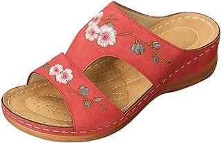 Dames Sandalen geborduurde schoenen Chinese Folk-gewoonte Retro Wedge Sandalen Slingback Peep Toe Slip On Zomer Outdoor Sa...