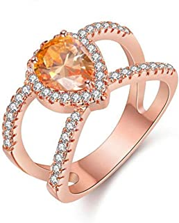 Uloveido Rose Gold Color Yellow CZ Stone Wedding Anniversary Rings - 2 الصف Hollow Jewelry Ring for Women Birthday Gift Y120