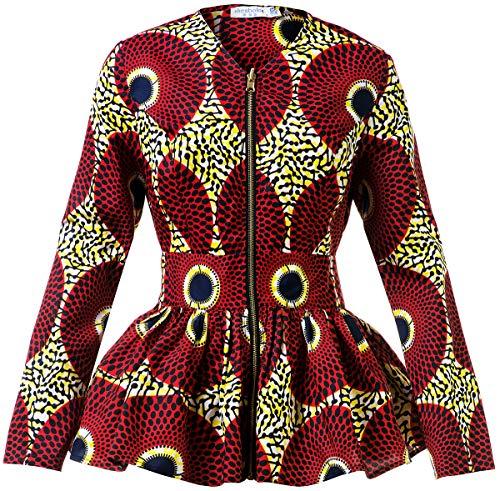 Shenbolen Women African Print Shirt Ankara Long Sleeves Top(C,Large)