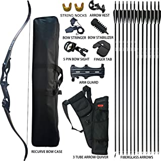 ハンティングリカーブボウ 大人のための矢印セットアーチェリー狩猟射撃ターゲット練習競技サバイバルテイクダウンロングボウパッケージ30 35 40 45 50ポンド右利きで弓ケースストリンガー矢印