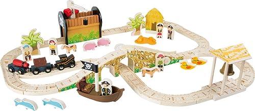 small foot 3123 Eisenbahnset Pirateninsel, Komplettset Holzeisenbahn mit Spielfiguren Spielzeug