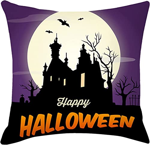 """popular Happy Halloween Pillowcase - outlet online sale Peach Skin Polyester discount Halloween Pillow Cover, Suitable for Halloween Home Room Party Decoration, 18""""X18"""" (#17) online"""