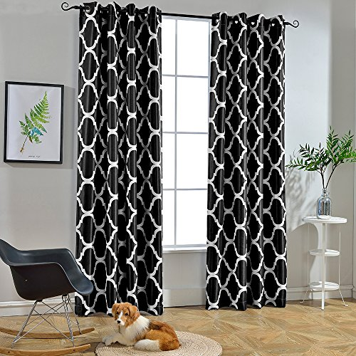 Melodieux Moroccan Fashion Room Darkening Blackout Grommet Top Curtains for Living Room, 52 by 84 Inch, Black (1 Panel)