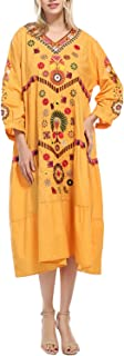 Women's Bohemian Embroidered Floral Ruffled Mexican Peasant Tunic Flowy Shift Midi Dress