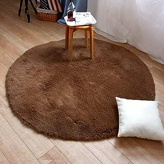 LGXH Soft Solid Color Shag Modern Plush Round Rug 4.92' Living Room Bedroom Home Shaggy Carpet Floor Area Rug Brown