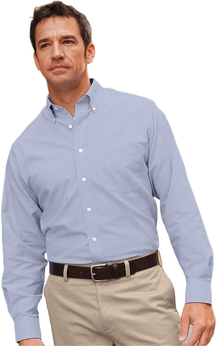 Van Heusen Men's Long Sleeve Wrinkle Resistant Oxford, LIGHT BLUE, XX Large