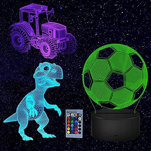 LED Luz de Noche, 3D Ilusión óptica Lámpara con 4 Patrones y 16 Cambios de Color, Tacto Lámpara de Visual Para Niños Regalos
