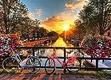 Mini Puzzles de 1000 Piezas en Miniatura DIYpara Adultos Bicicleta Puesta de Sol de cartón Resistente Desafío de Ejercicio Cerebral Juego de Alta dificultad Regalo para Niño 38 * 26cm
