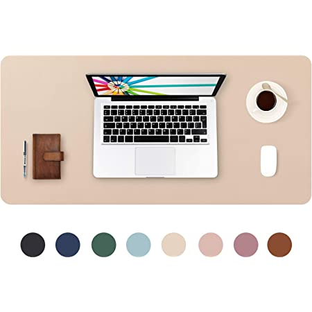 """Desk Pad Large 31.5"""" X 15.7"""" DOBAOJIA Extended Mouse Mat Large Mouse Pad XL Desk Blotter Writing Pad for Laptop/Office/Home, PU Leather Side Waterproof +Suede Side Non-Slip (Beige)"""