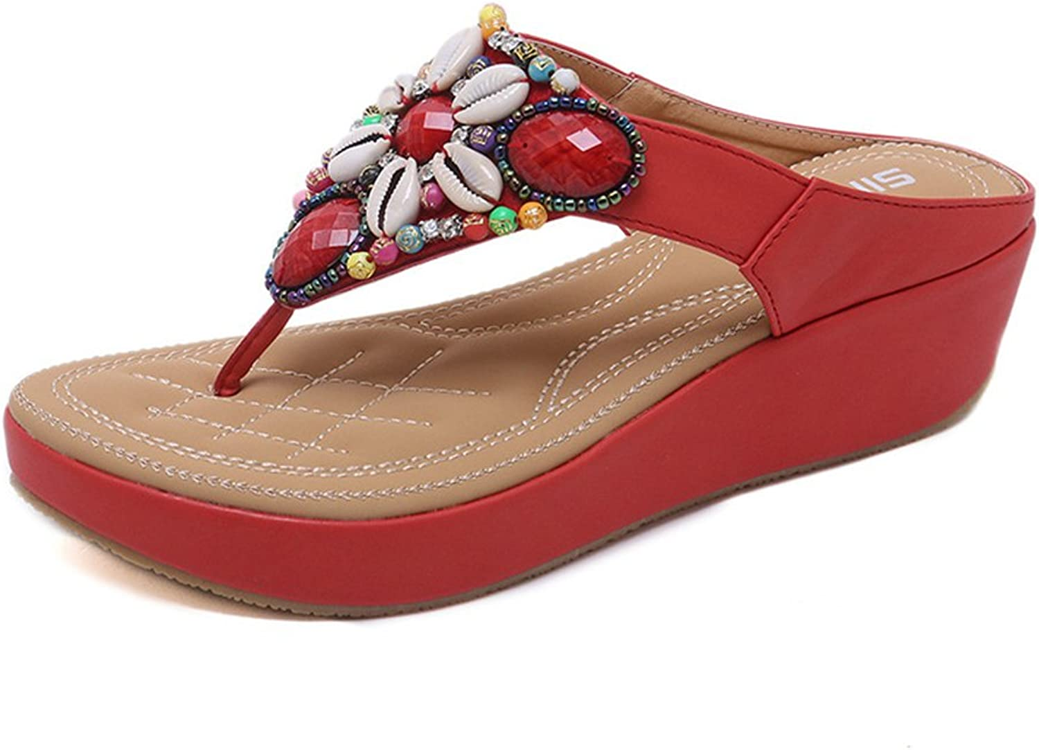 Navoku Jeweled Leather Fashion Womens Sandals Flip Flop Thong Sandle